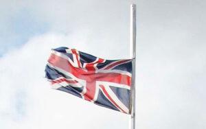 half mast England flag